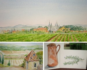 watercolour painting holidays France, Limousin, Nicola Blakemore artist De Tout Coeur Limousin
